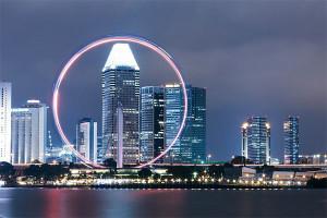 Singapur Skyline und Riesenrad
